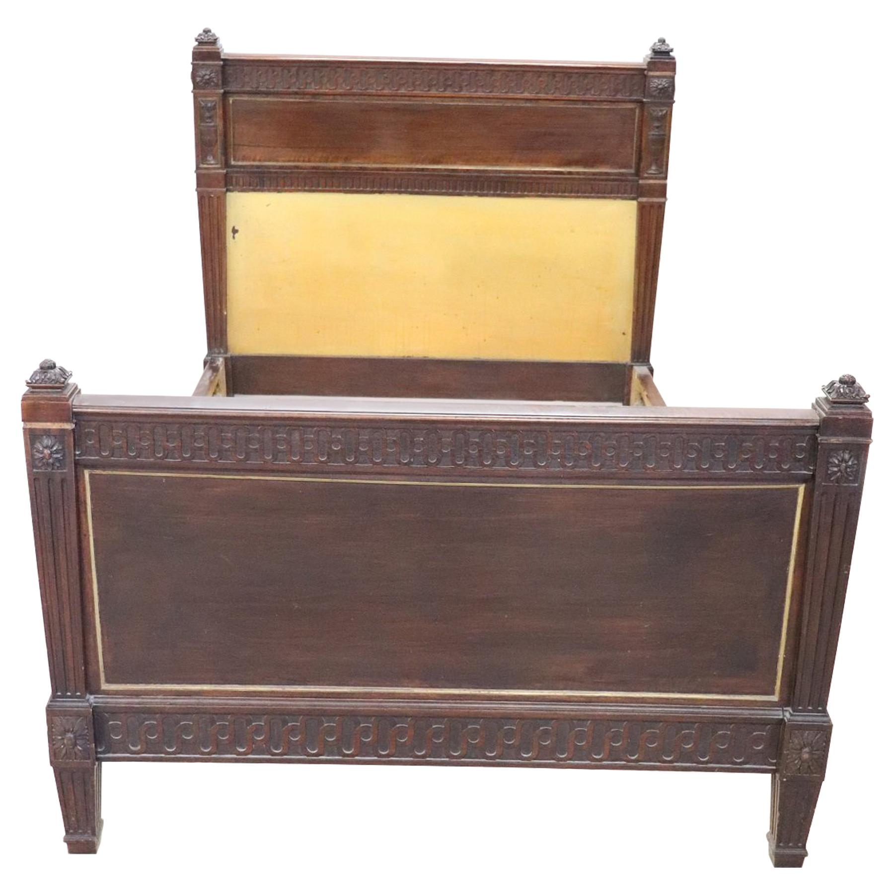Quality Walnut 1930s Carved Standard Double Bed Arts And Crafts Pretty And Colorful Beds