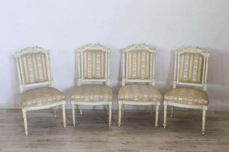 19th Century Italian Louis XVI Style Lacquered Living Room Set or Salon Suite For Sale 9