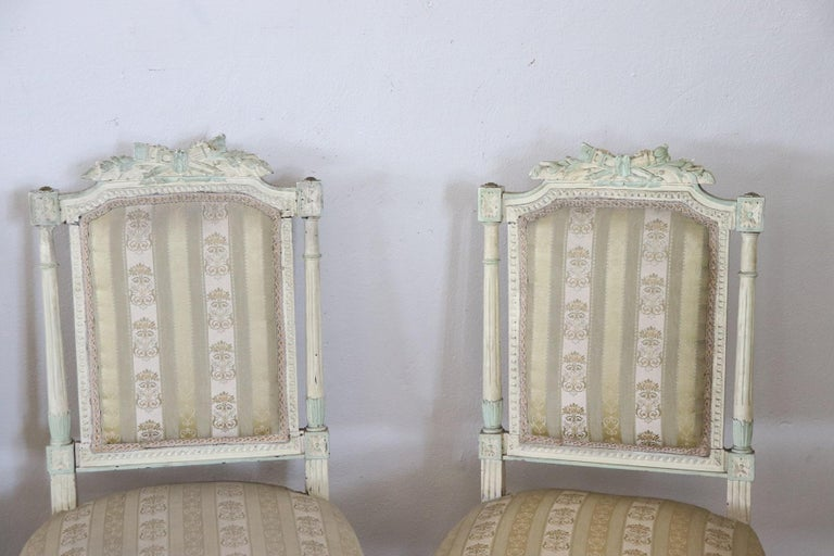 19th Century Italian Louis XVI Style Lacquered Living Room Set or Salon Suite For Sale 10