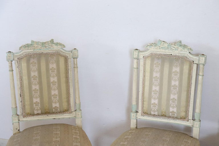 19th Century Italian Louis XVI Style Lacquered Living Room Set or Salon Suite For Sale 11