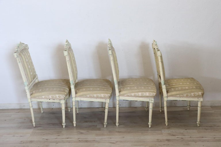 19th Century Italian Louis XVI Style Lacquered Living Room Set or Salon Suite For Sale 14