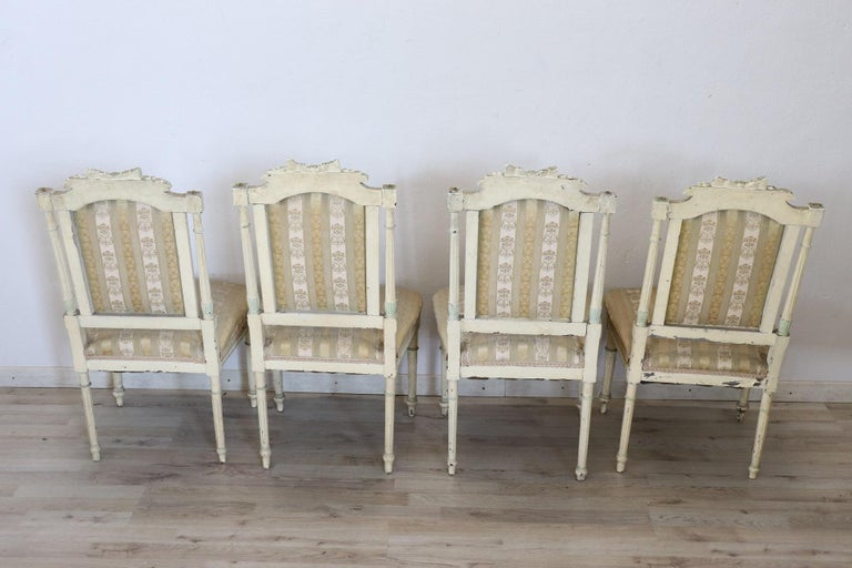 19th Century Italian Louis XVI Style Lacquered Living Room Set or Salon Suite For Sale 15