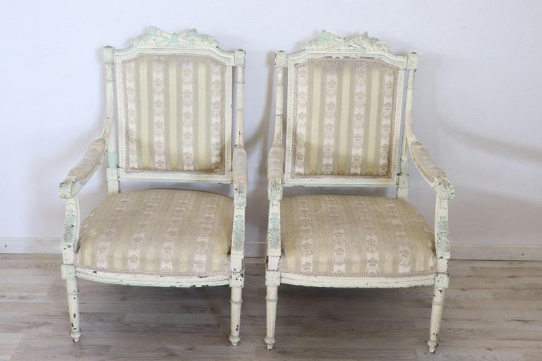 19th Century Italian Louis XVI Style Lacquered Living Room Set or Salon Suite For Sale 3