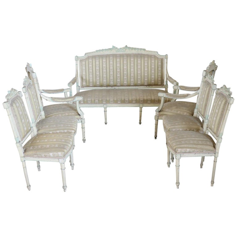 19th Century Italian Louis XVI Style Lacquered Living Room Set or Salon Suite For Sale