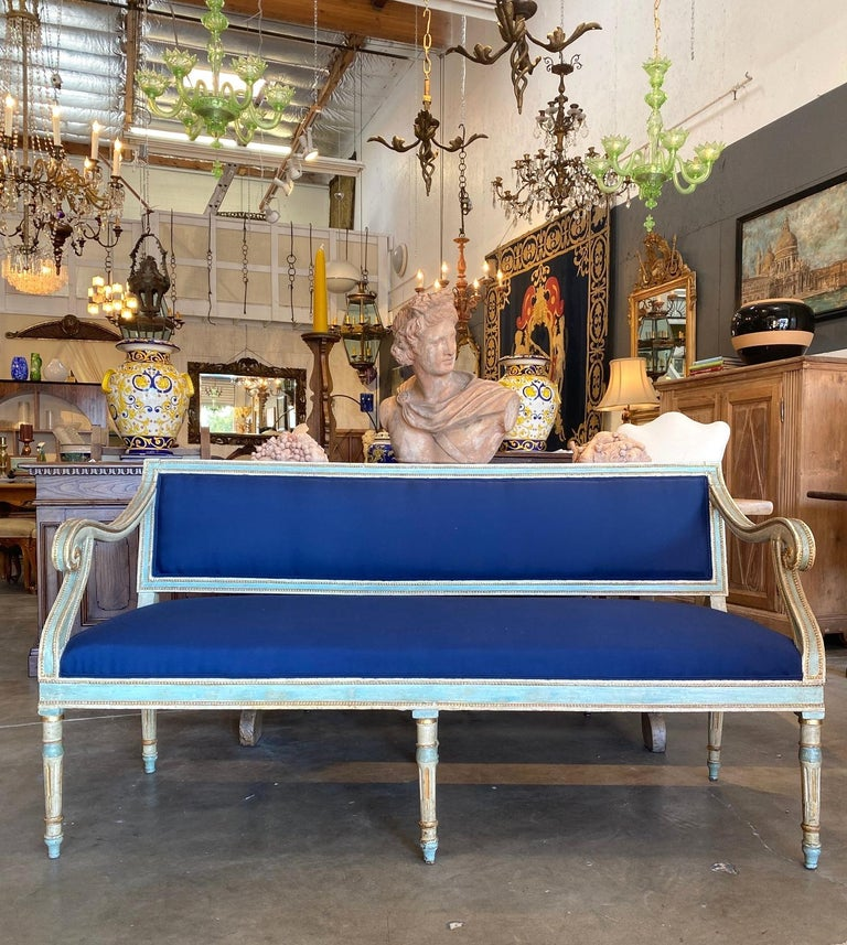Enameled 19th Century Italian Louis XVI Style Painted and Gold Gilt Bench Settee Ca 1820 For Sale