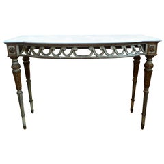 19th Century Italian Louis XVI Style Painted and Parcel-Gilt Console Table