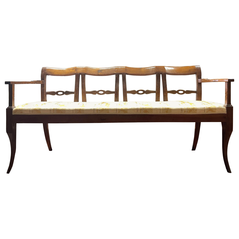 19th Century Italian Louis XVI Walnut Settees Sofa, 1799