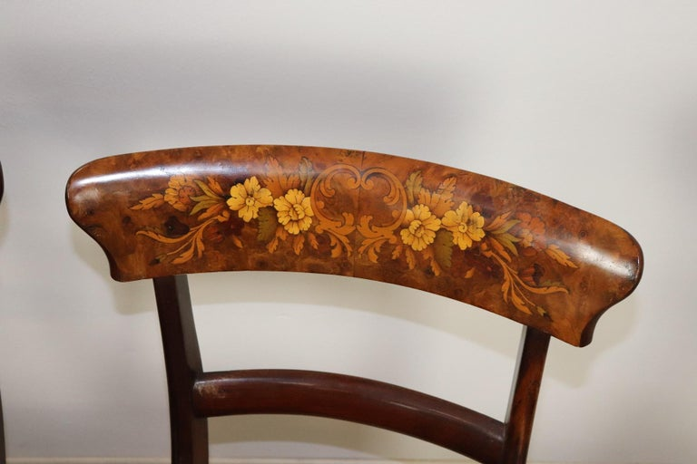 Series of six refined antique mahogany chairs, circa 1880s. The very  elegant back in - 19th Century Italian Mahogany Inlay With Floral Motif Set Of Six