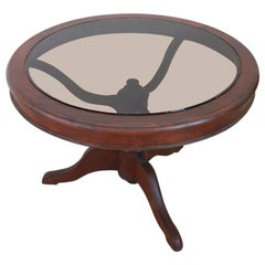 19th Century Italian Mahogany Round Coffee Table or Sofa Table with Glass Top