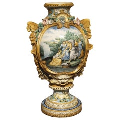 19th Century Italian Majolica Fountain Body/Vase
