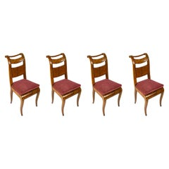 Set of Four Italian Chairs 19th Century Directoire Genoese Chairs Red Velvet