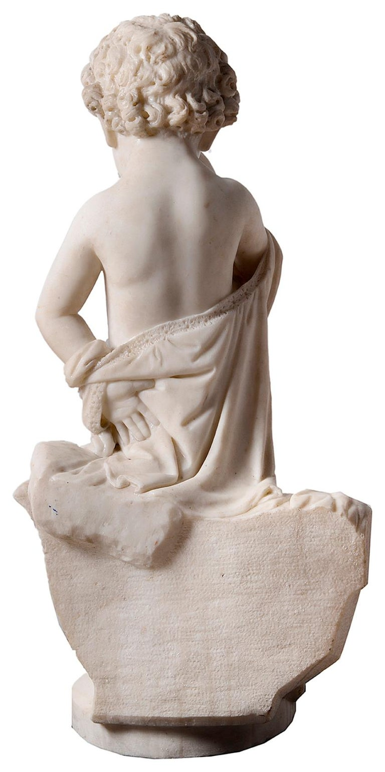 Carved 19th Century Italian Marble Statue of Crying Child For Sale