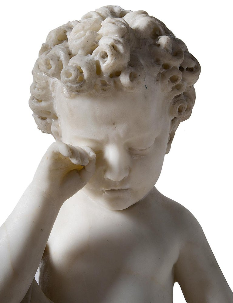 19th Century Italian Marble Statue of Crying Child For Sale 1