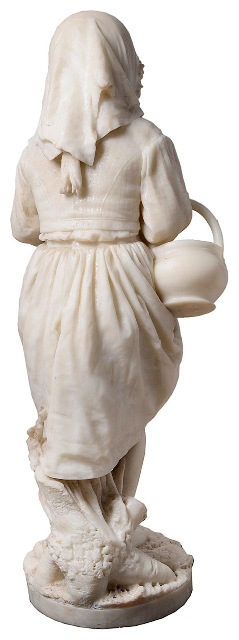Hand-Carved 19th Century Italian Marble Statue of Gypsy Girl, by Prof. a. Cambi For Sale