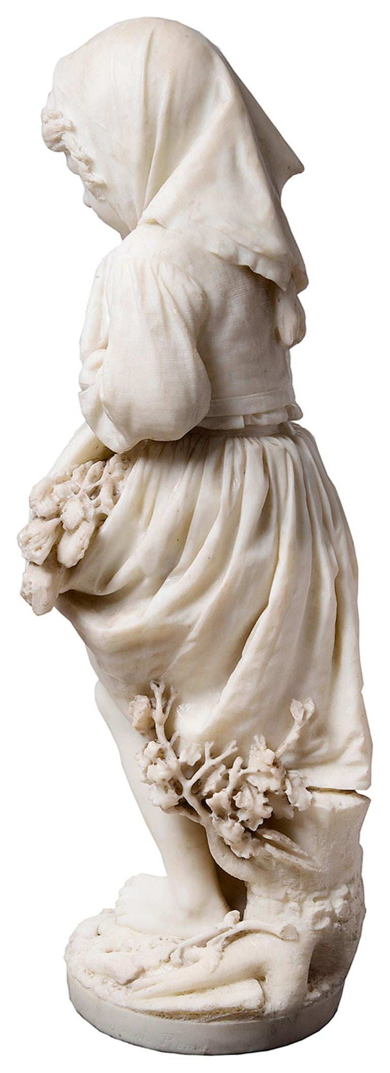 19th Century Italian Marble Statue of Gypsy Girl, by Prof. a. Cambi In Good Condition For Sale In Brighton, Sussex