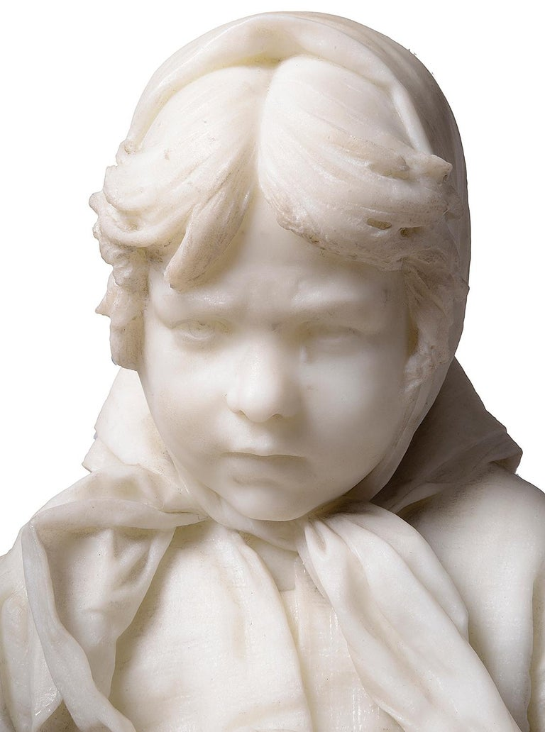 19th Century Italian Marble Statue of Gypsy Girl, by Prof. a. Cambi For Sale 2