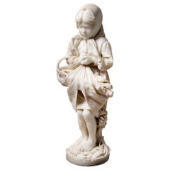 19th Century Italian Marble Statue of Gypsy Girl, by Prof. a. Cambi