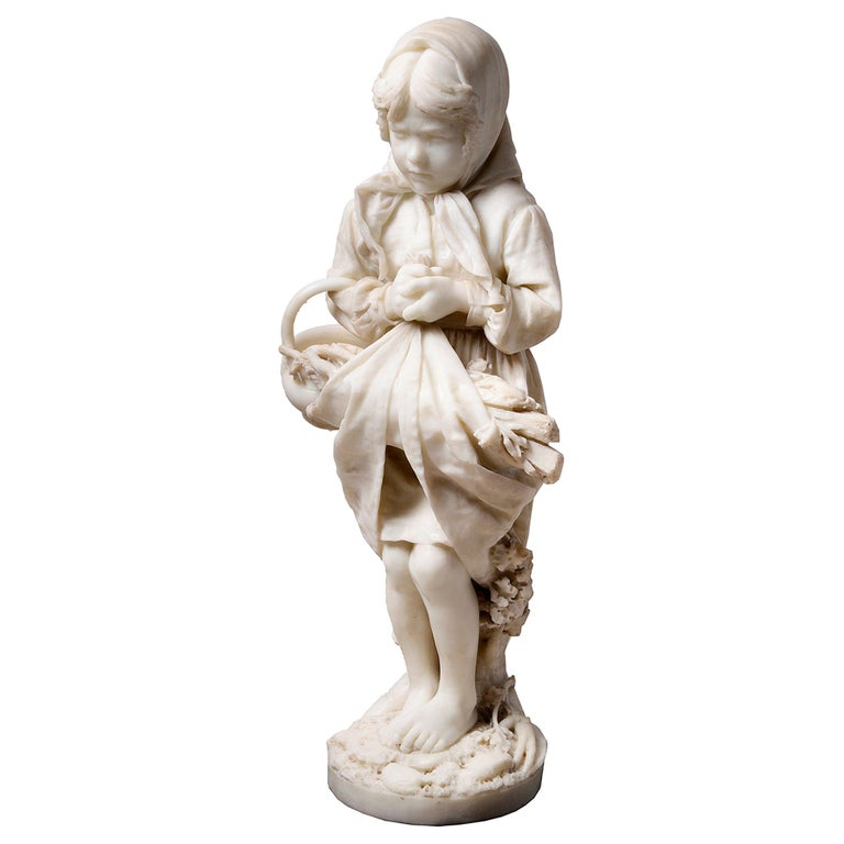 19th Century Italian Marble Statue of Gypsy Girl, by Prof. a. Cambi For Sale