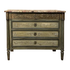 19th Century Italian Marble-Top Painted Commode