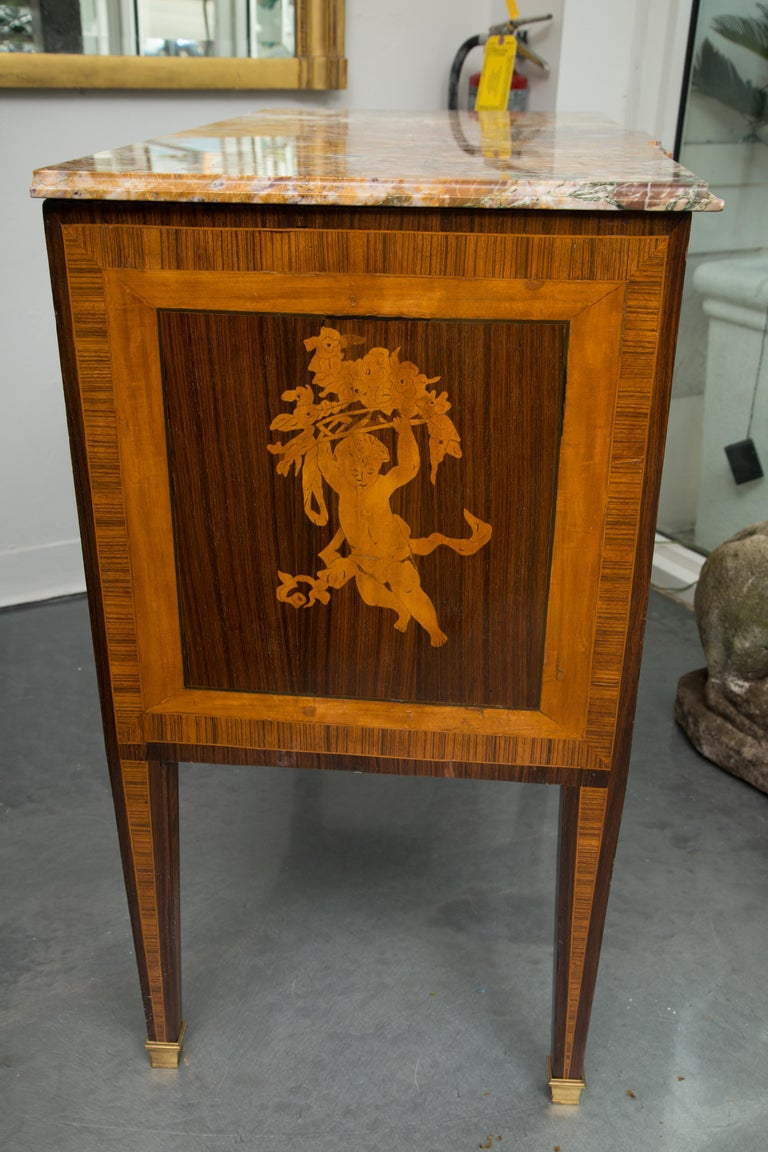 19th Century Italian Marquetry Inlaid Commode with Marble Top For Sale 9