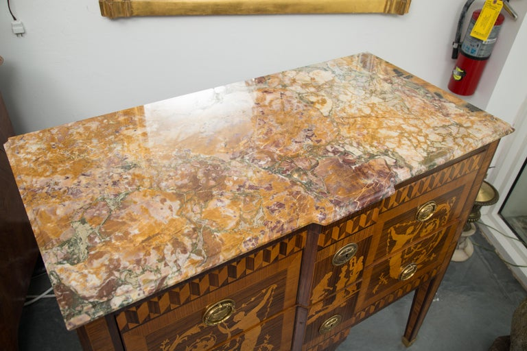 19th Century Italian Marquetry Inlaid Commode with Marble Top For Sale 11