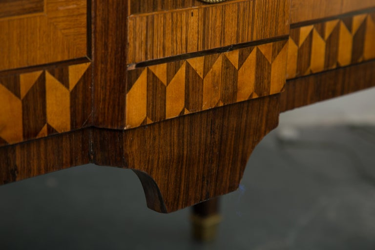 Hand-Crafted 19th Century Italian Marquetry Inlaid Commode with Marble Top For Sale
