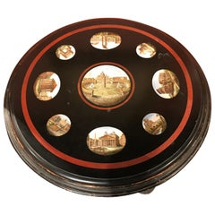 19th Century Italian Micro Mosaic Round Center Table with Ebonized Carved Base