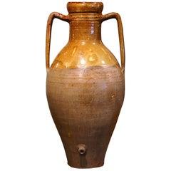 19th Century Italian Mustard Glazed Terracotta Olive Jar Amphora with Handles