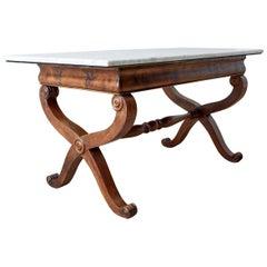 19th Century Italian Neoclassical Curule Leg Marble Library Table