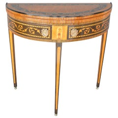 19th Century Italian Neoclassical Demilune Game Table