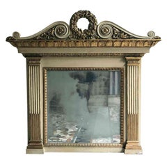 19th Century Italian Neoclassical Mirror Ivory and Giltwood Overmantel