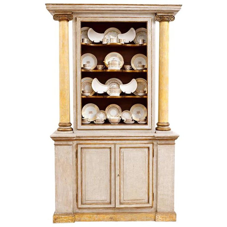 19th Century Italian Neoclassical Painted Display Cabinet w/ Faux Marble Columns For Sale