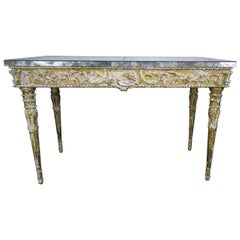 19th Century Italian Neoclassical Style Giltwood Console with Mirrored Top