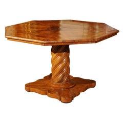 19th Century Italian Neoclassical Style Inlaid Walnut Center Table