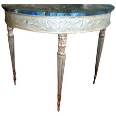 19th Century Italian Neoclassical Style Painted and Silver Gilt Console Table