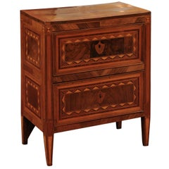 19th Century Italian Neoclassical Style Walnut Inlaid Commodino