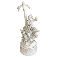 19th Century Italian Neoclassical White Centerpiece Cheerful Dwarf Figures