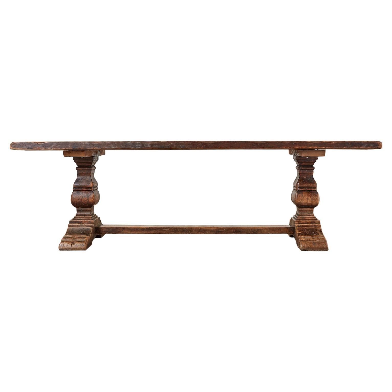 19th Century Italian Oak Farmhouse Trestle Dining Table