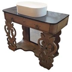 19th Century Italian Oak Wood Cupboard Sink with Drawers, 1890s