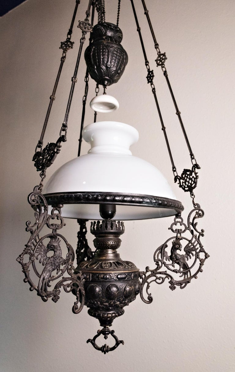 Rococo 19th Century Italian Gas Lamp Chandelier For Sale