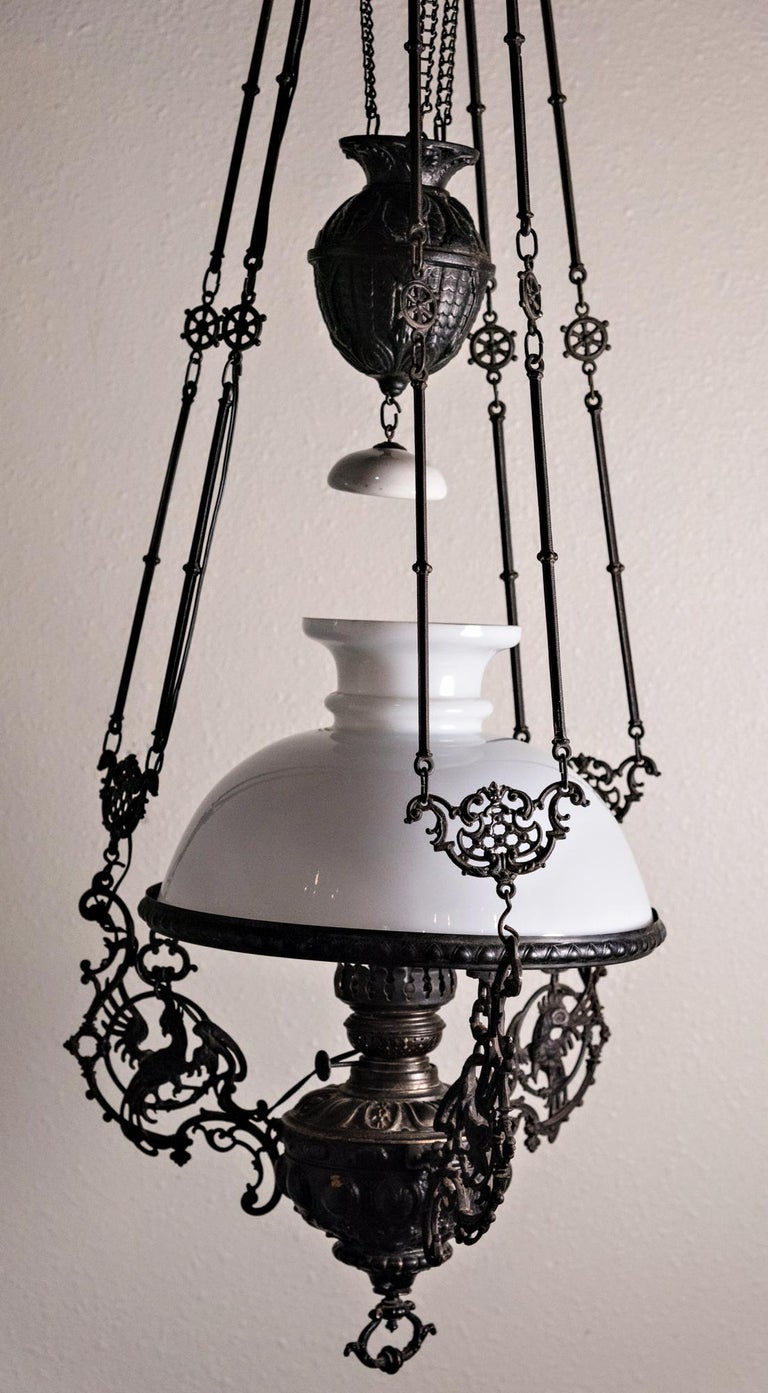 19th Century Italian Gas Lamp Chandelier In Fair Condition For Sale In Oregon, OR