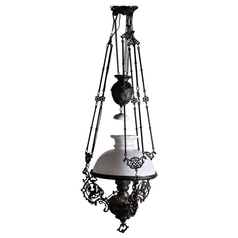 19th Century Italian Gas Lamp Chandelier For Sale