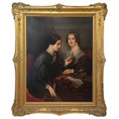 19th Century Italian Oil on Canvas Double Portrait with Two Female Figures