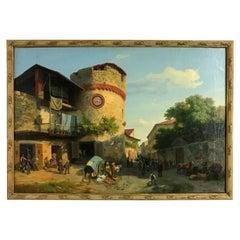 19th Century, Italian Oil on Canvas, Market at Giaveno Tower by Carlo Piacenza