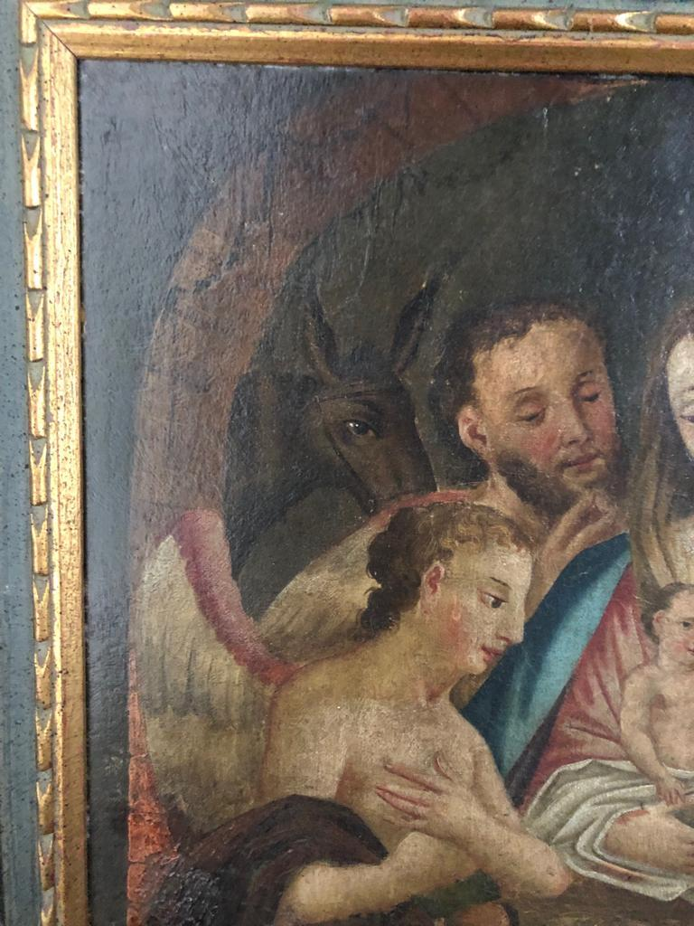 19th Century Italian Oil on Canvas of Jesus, Mary, Wise Men, Angel and Donkey For Sale 2