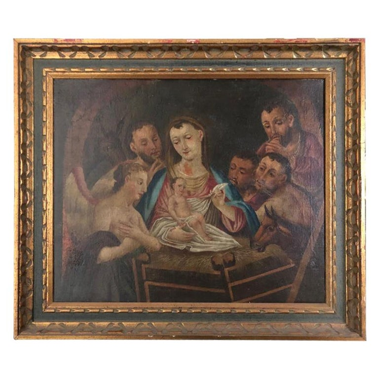 19th Century Italian Oil on Canvas of Jesus, Mary, Wise Men, Angel and Donkey For Sale