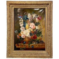 19th Century Italian Oil on Canvas Still Life of Flowers in Giltwood Frame