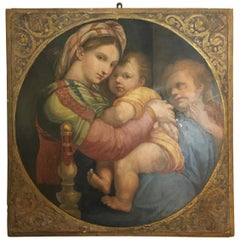 19th Century Italian Oil on Panel Painting Depicting a Madonna with Bambino