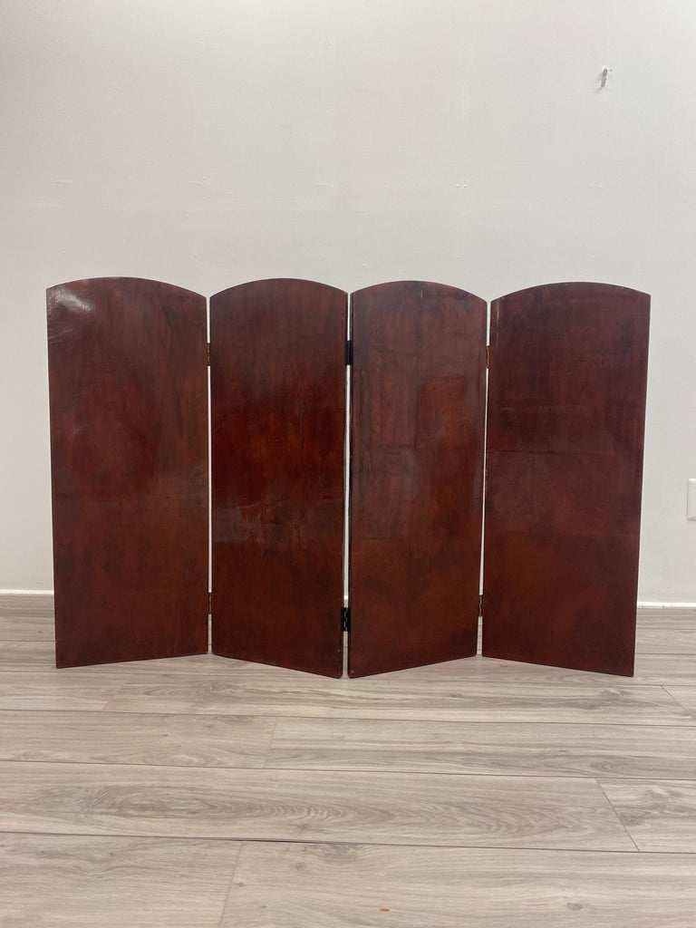 19th Century Italian Oil Painting on Four Panel Folding Screen For Sale 5