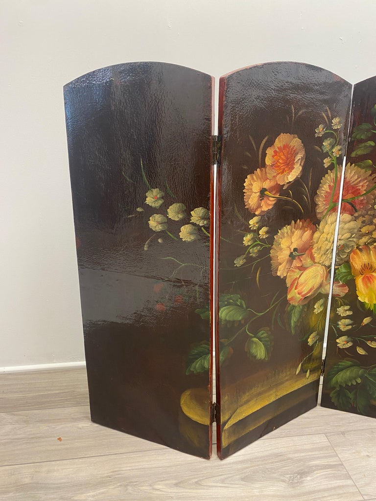 Canvas 19th Century Italian Oil Painting on Four Panel Folding Screen For Sale